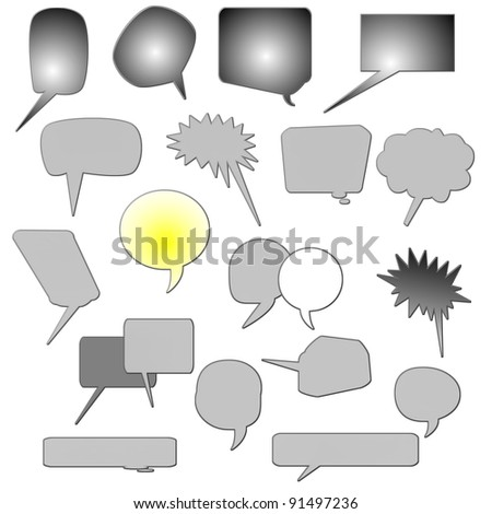 set comic book text bubbles, speech bubble, isolated on white background