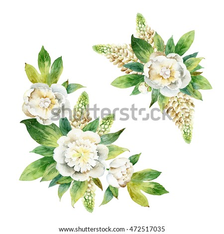 Set compositions with peony and lupine isolated on white background. Watercolor illustration