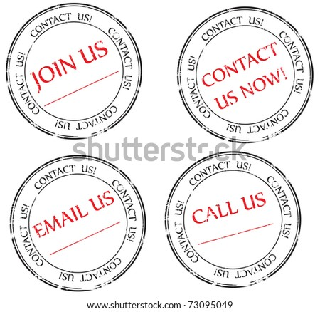 Set:  Contact us, Email us, Join us message on stamp