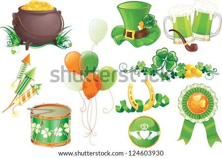 Set contains symbols of St.Patrick's Day.