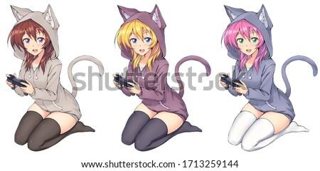 Set cute gamer anime girl in hoodie holding gamepad playing videogames