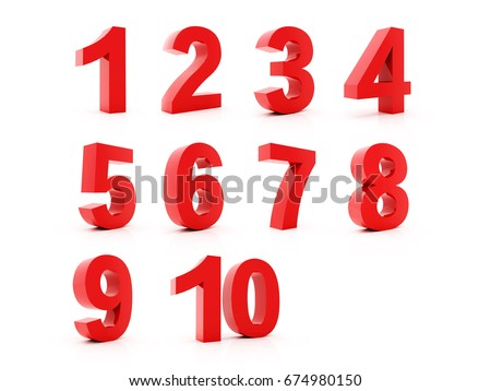 Set 3D of figures of red color and sign of percent. number from 1 to 9 #674980150