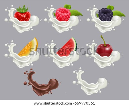 Set dessert of ripe berry fruit and cream. Strawberry, raspberry, cherry, watermelon, melon milk and chocolate. Realistic illustration