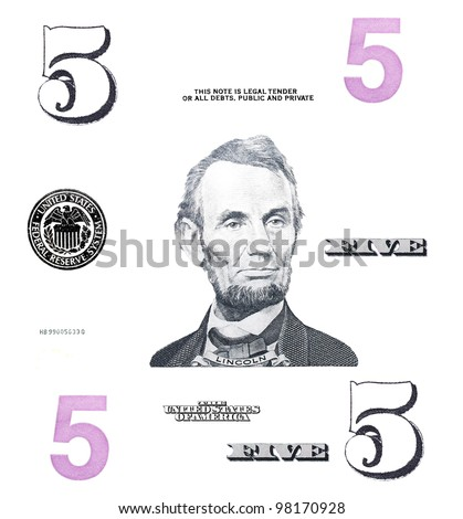 set detail 5 $ dollars, with Lincoln, isolated on white background