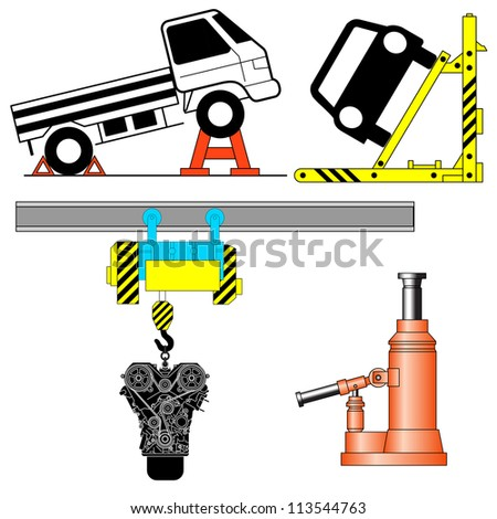 Set device for lifting a car repair.  illustration.