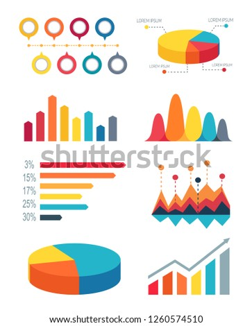 Set different colorful bar graphs and pie charts for representing statistics. raster illustration with variety of graphs on white background