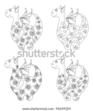Set Dragons with valentine hearts and floral patterns, contours