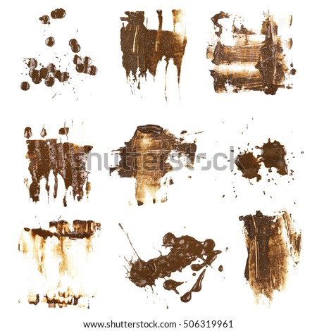 set drops of mud sprayed isolated on white background, collection stain with clipping path #506319961