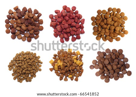 Set dry food for dogs isolated on white background.