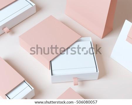 Set elegant packaging box 3d rendering