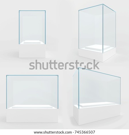 Set empty glass showcase in cube form for presentation on white background. 3d rendering.