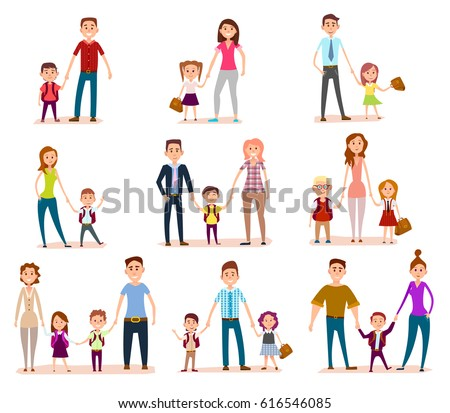 set family child education concept. Mothers, fathers and schoolchildren. Pupils, bag, happy smiling faces. Happy chidhood concept. Isolated characters. School life. Generic pedagogy poster.