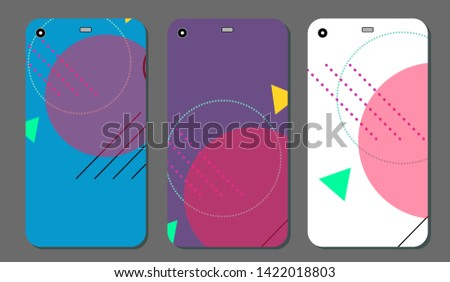 Set fashionable abstract ornaments for mobile phone cover and screen . The visible part of the clipping mask. The sample is ready for printing after the release clipping mask.