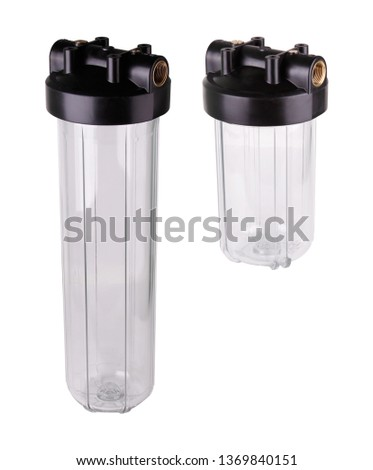 Set Filter flask transparent plastic water purification. Isolated white background. Main filters protect pipes, mixers, plumbing household appliances contamination damage by mechanical particles. #1369840151