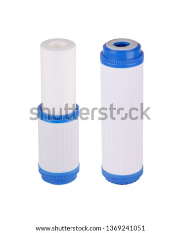 Set filters isolated white background. Foamed, pressed coal, granulated, cation exchange resin carbon polyphosphate post filter. Reverse Osmosis Membrane. Eliminates the unpleasant smell water. #1369241051