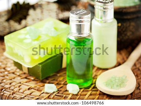 Set for a spa: handmade soaps, aromatic oils and sea salt - stock photo