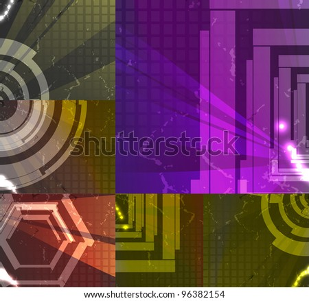 set for abstract background, technology futuristic illustration