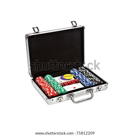 set for poker in suitcase isolated on white background