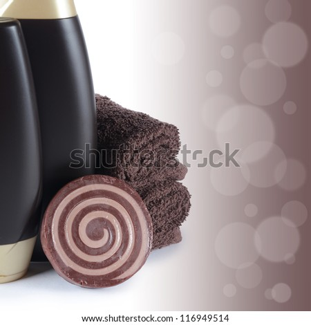 Set for spa-procedures isolated on Chocolate background