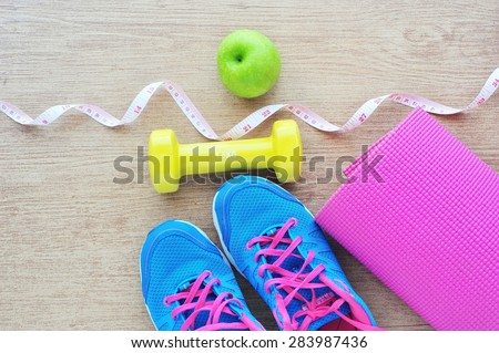 Set for sports activities on tiled floor.