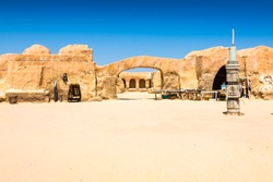 Set for the Star Wars movie still stands in the Tunisian desert near Tozeur.