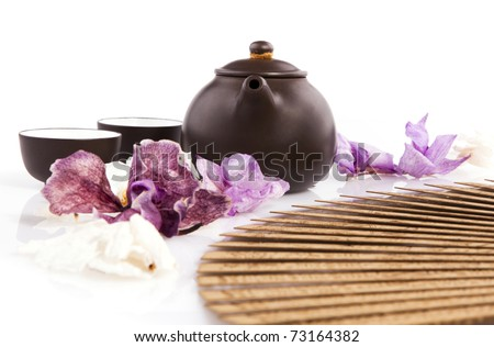 Set for the tea ceremony on a white background