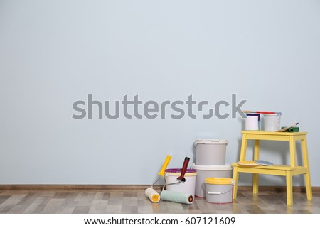 Set for wall painting in empty room #607121609