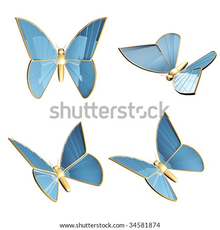 Set- four 3d golden butterflys-robots