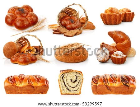 set fresh breads with corn and sweet cakes isolated on white background