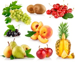 set fresh fruits with cut and green leaves isolated on white background