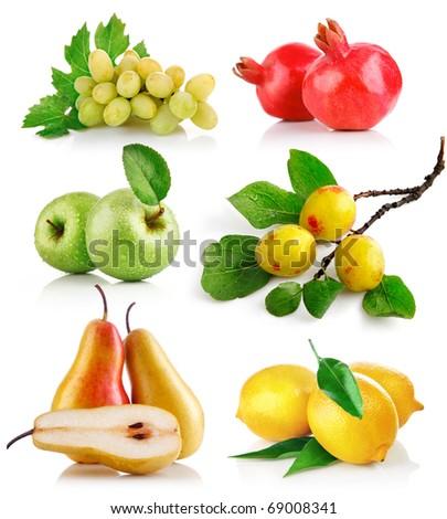 set fresh fruits with green leaf isolated on white background - stock photo