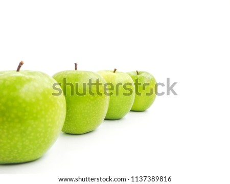 Set fresh green apple in row isolate on white background. Fruit for healthy and diet concept. space for word picture.