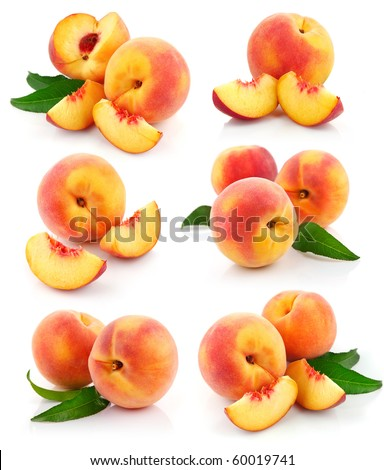 set fresh peach fruits with cut and green leaves isolated on white background