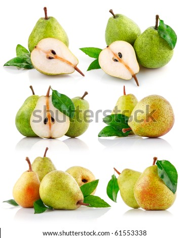 set fresh pear fruits with cut and green leaf isolated on white background