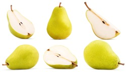 Set fresh pears whole, cut in half, quarter isolated on white background Clipping Path