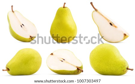 Set fresh pears whole, cut in half, quarter isolated on white background Clipping Path #1007303497
