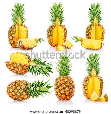 set fresh pineapple fruits with cut isolated on white background