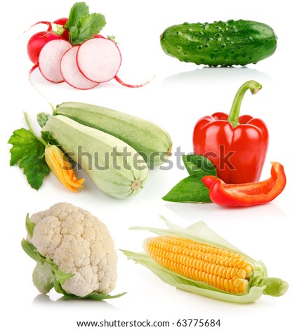 set fresh vegetable with green leaf isolated on white background
