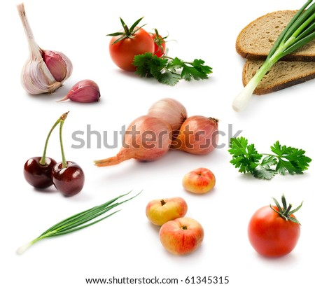 Set fresh vegetables isolated on white