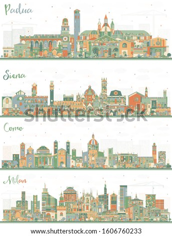 Set from Four Italian Cities. Como, Milan, Padua and Siena Tuscany City Skylines with Color Buildings. Business Travel and Tourism Concept with Historic Architecture. Cityscapes with Landmarks.