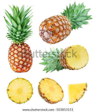 Set from pineapples isolated on white background