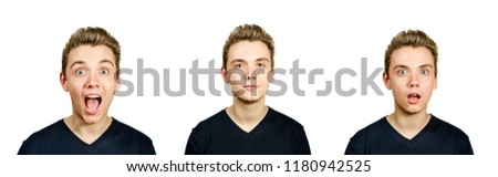 Set from portraits of young guy with pompadour hairstyle isolated on white background. Stock foto ©