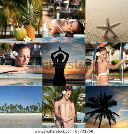 Set from vacation photos with woman and tropical place