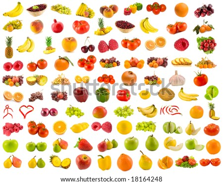 set from 96 various fruits, vegetables and berries