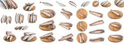 Set frozen fish isolated on white background with clipping path. Set of assorted fresh, raw mackerel and hake for design. Dry-frozen fish.
