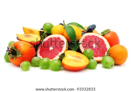set fruit isolated on a white background - stock photo
