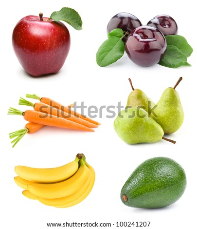 set fruit isolated on white background