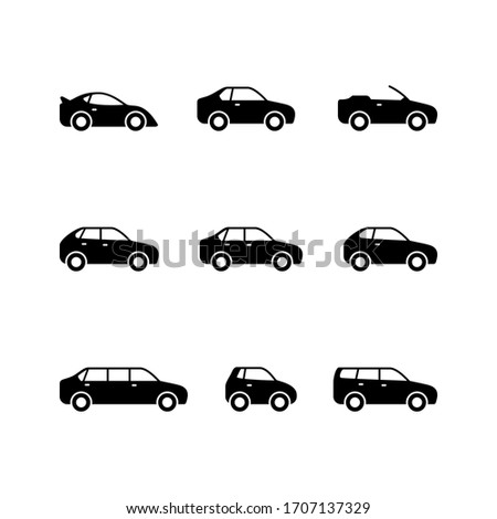 Set glyph icons of car isolated on white. Types of vehicle. Limousine, sedan, sport auto, hatchback, universal, minicar, cabriolet and coupe
