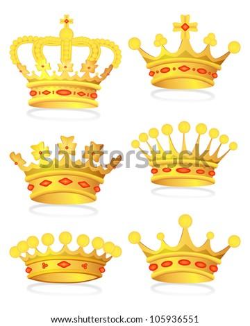 Set gold royal crown, bitmap copy.