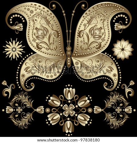 Set gold vintage butterfly and flowers on black